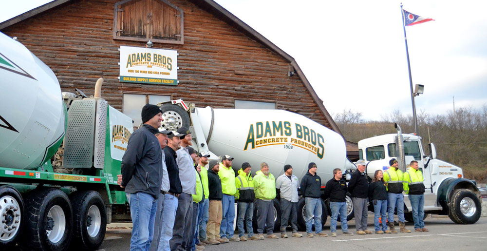 Adams Bros Concrete Company Concrete Delivery Ready Mix Zanesville Ohio Norwich Cambridge Newark Team